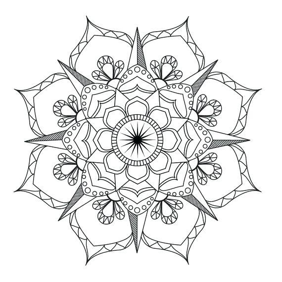 570x570 Mandala Coloring Pages Flower Mandala Coloring Page Adult Coloring