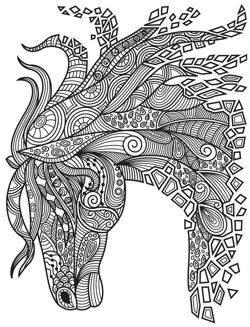 1049x1369 horses colorish coloring book app for adults mandala relax