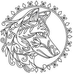 236x238 Print High Quality Wolf Mandala Adult Coloring Pages