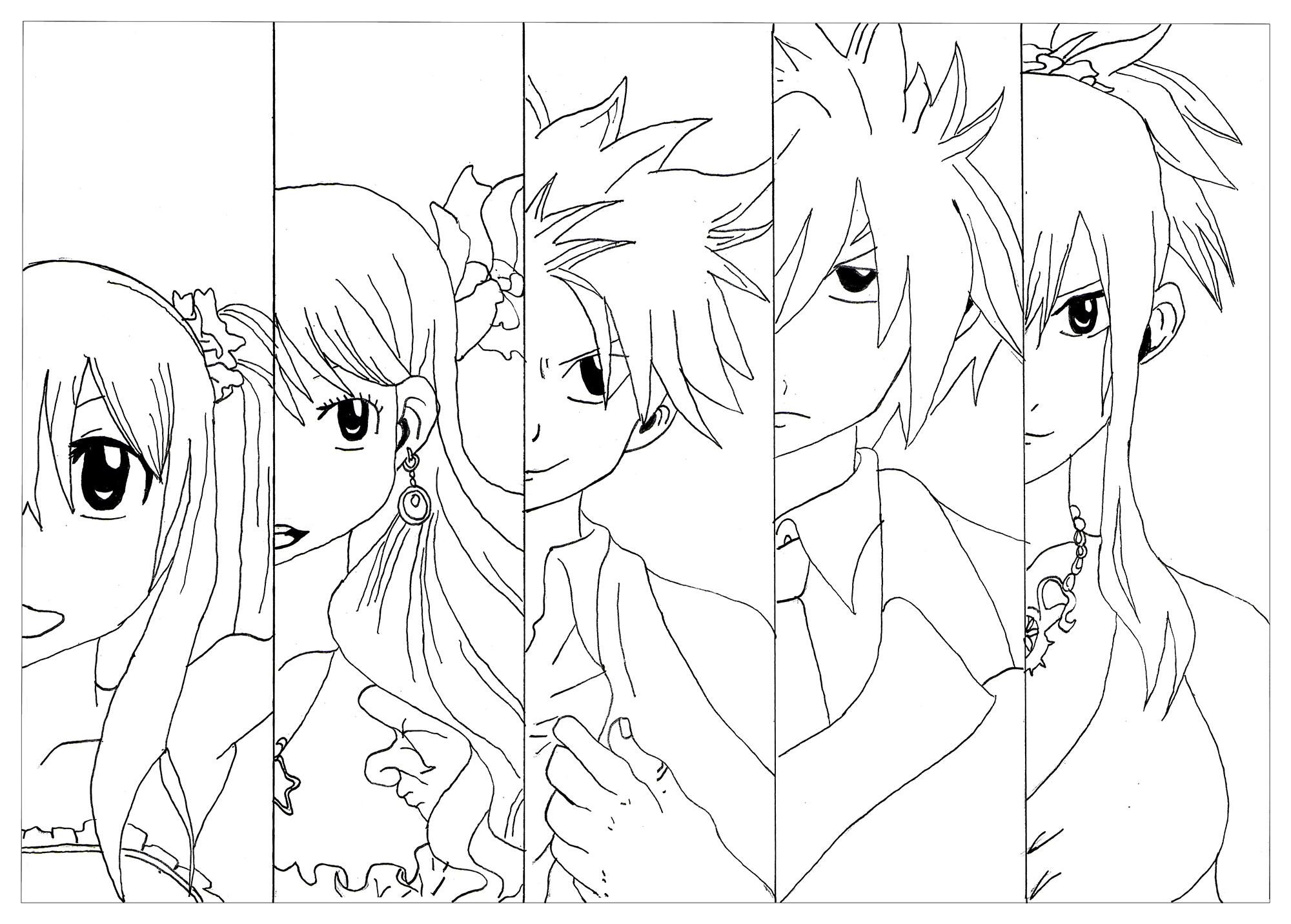 2000x1432 Coloring Manga Chibi Fairy Tail Krissy Printable
