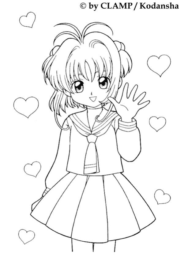 601x850 Sakura And Hearts Coloring Page More Manga Coloring Sheets