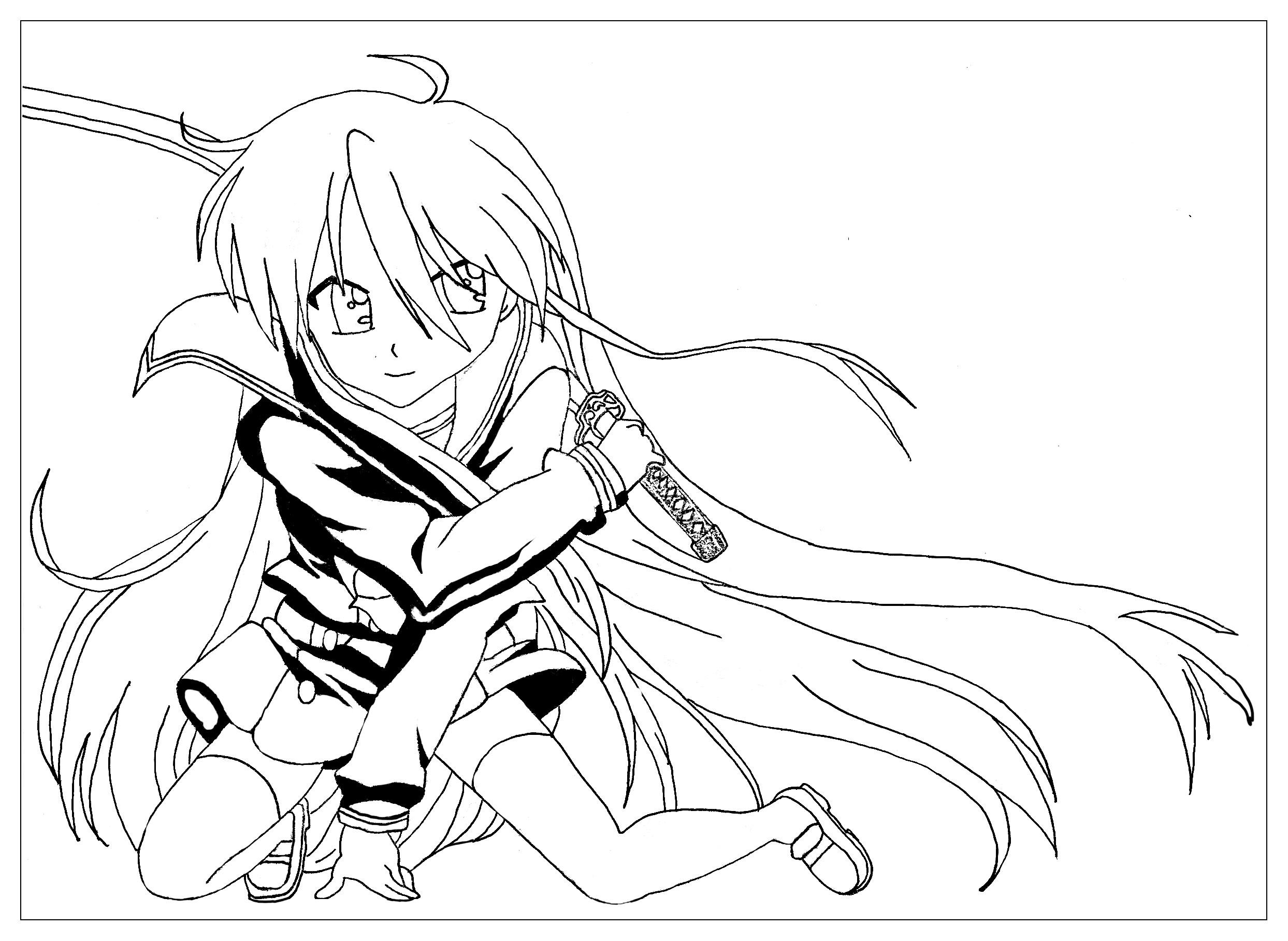 2487x1817 Manga Saber Warrior Girl