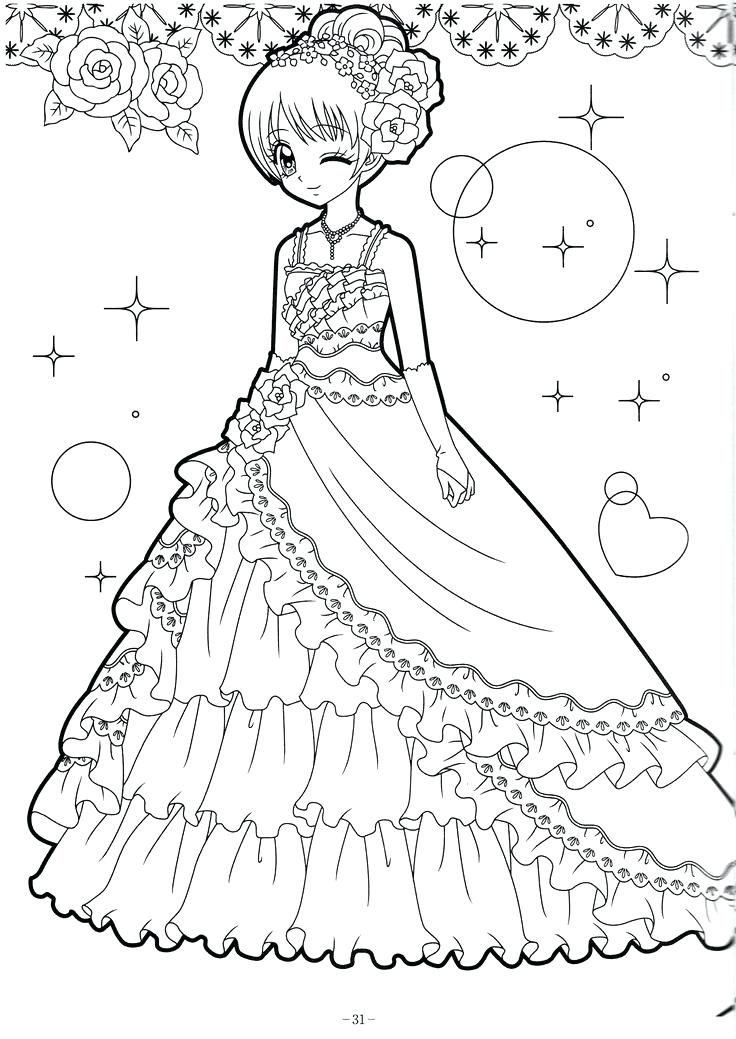 736x1039 Anime Girl Coloring Page