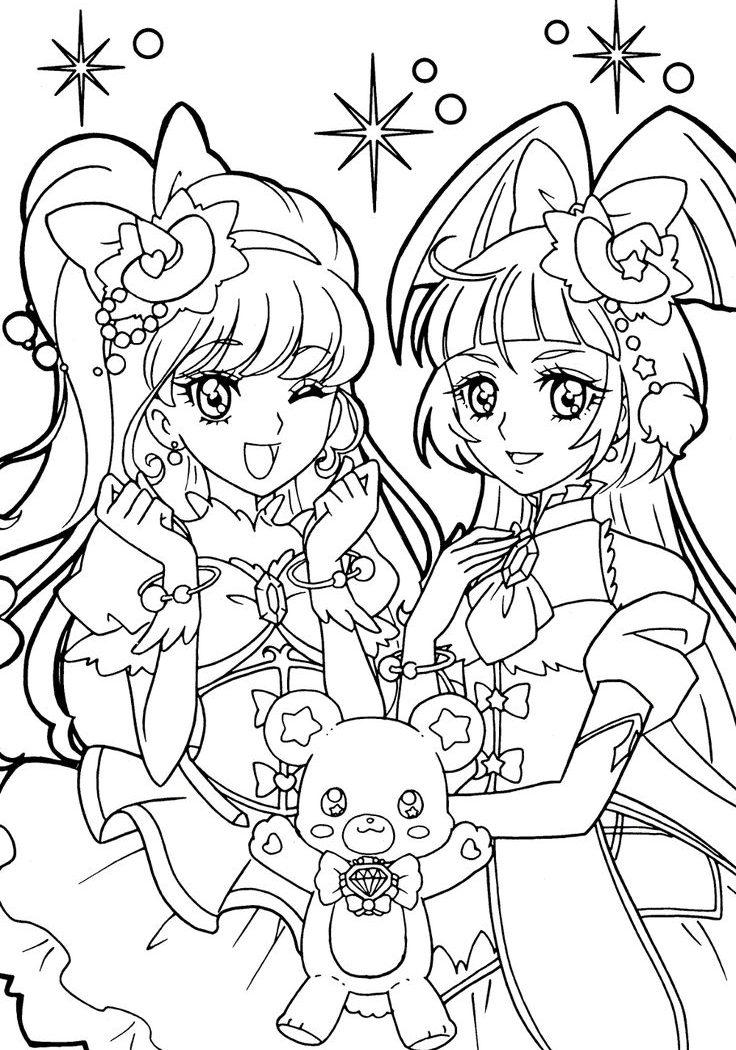736x1050 Anime Manga Coloring Sheets Printable Page Free Cartoons Mermaid