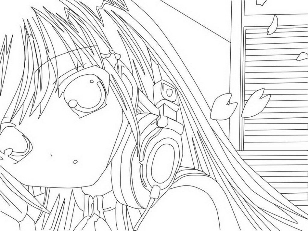 1024x768 Anime Girls Coloring Pages Me