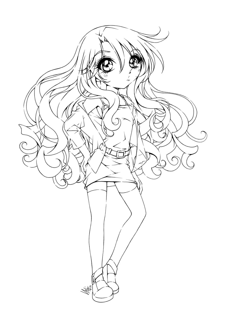 900x1269 Cute Anime Girl Coloring Pages