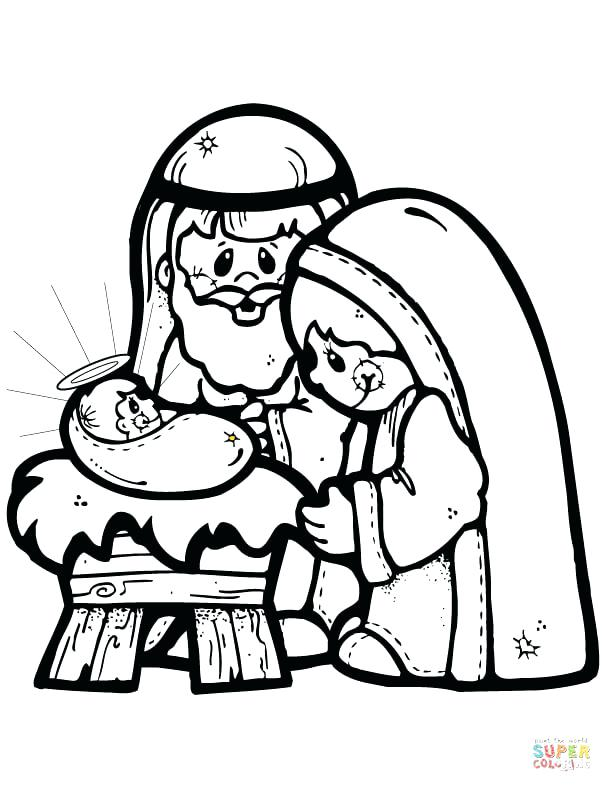 612x792 Jesus In A Manger Coloring Page Click The Nativity Scene Coloring