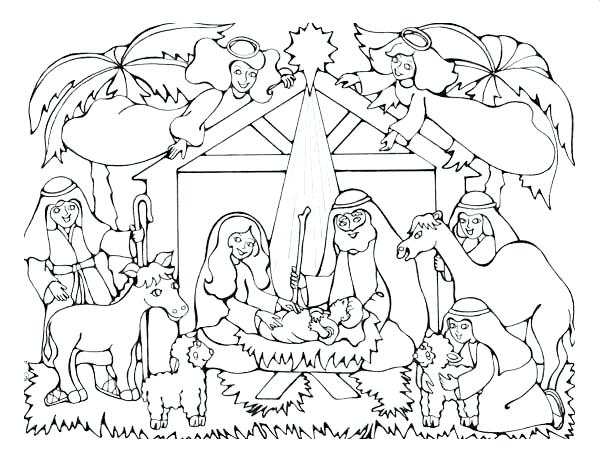 600x460 Manger Coloring Page Click The Christian Coloring Pages Manger