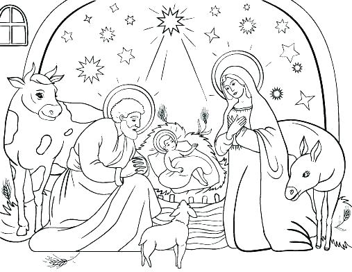 507x392 Manger Coloring Page Manger Coloring Pages Free Nativity Coloring