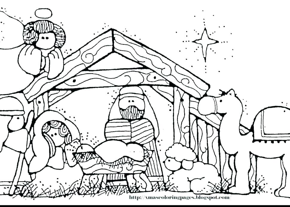 970x693 Nativity Scene Coloring Manger Coloring Pages Nativity Scene