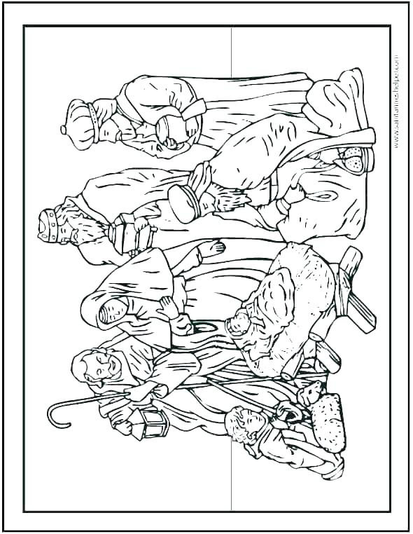 590x762 Nativity Scene Coloring Pages Nativity The Birth Of Scene Coloring