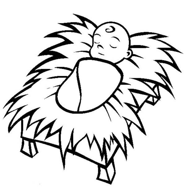 600x612 Baby Jesus In Manger Coloring Page