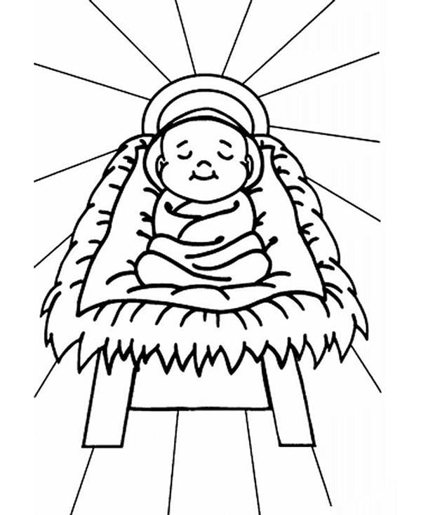 600x734 Baby Jesus Sleep In A Manger Coloring Page Kids Play Color
