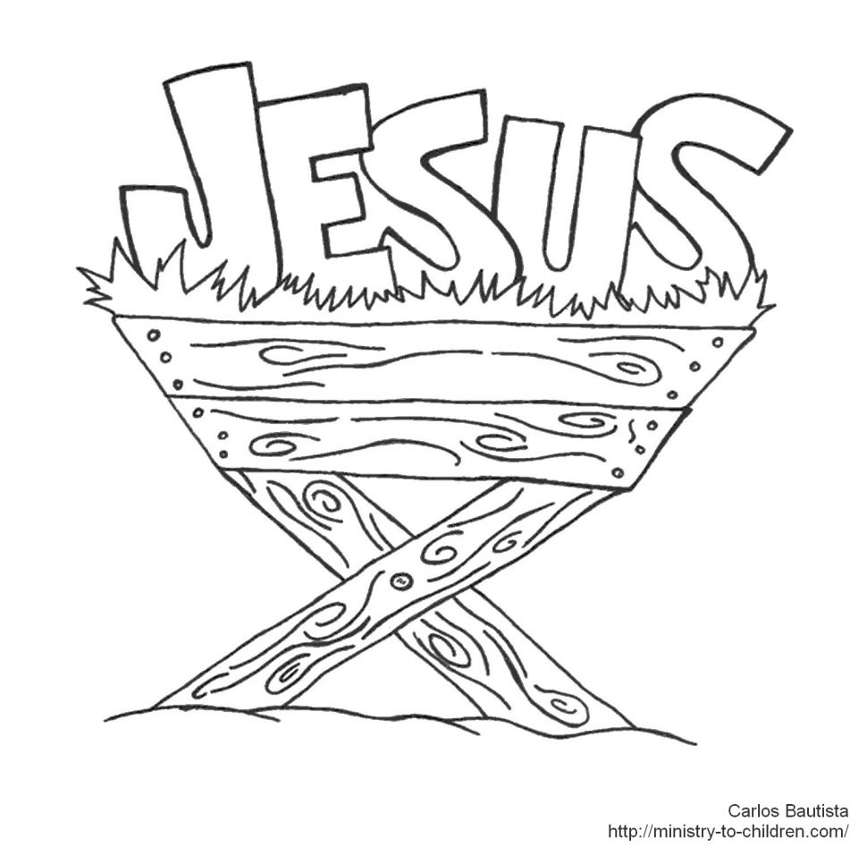 970x947 Jesus In A Manger Coloring Page Baby Funycoloring Stunning Mesr