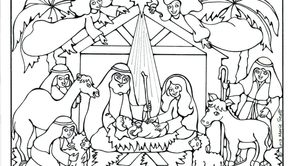 960x544 Manger Coloring Pages Baby In Manger Coloring Page Free Printable