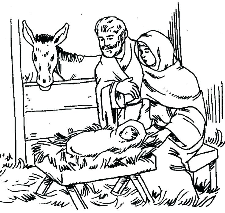736x696 Baby Jesus In A Manger Colouring Pages Nativity Coloring Page