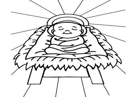 476x333 Coloring Picture Of Baby Jesus Baby In A Manager Sleep Manger
