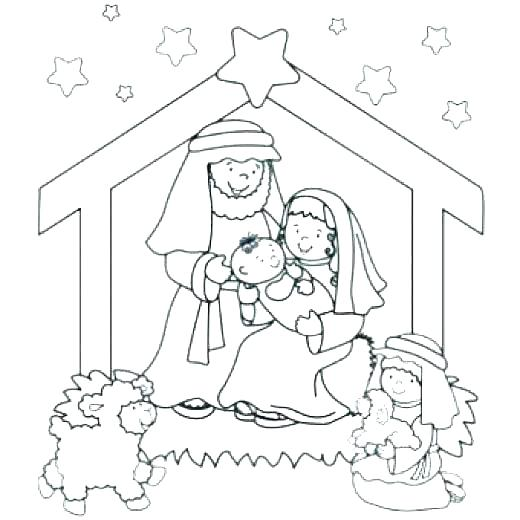 520x520 Free Nativity Coloring Pages Nativity Color Page Idea Nativity