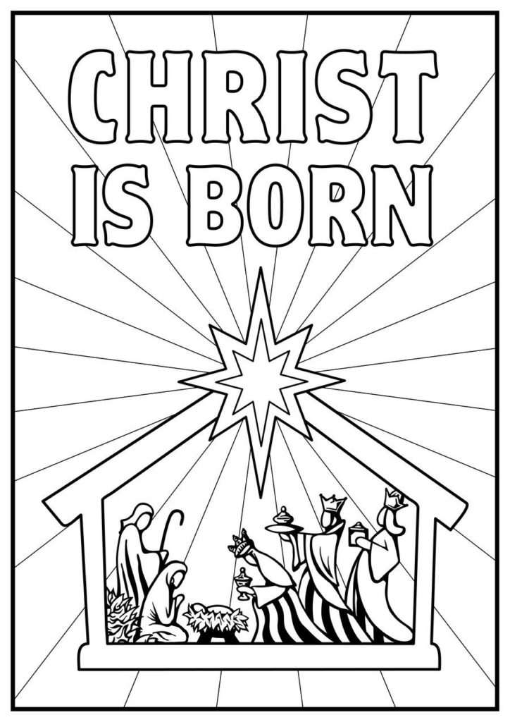 724x1024 Manger Coloring Page Kids Color Pages Scene Nativity Story