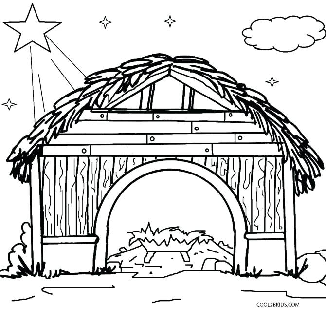 670x634 Manger Coloring Page Printable Nativity Scene Coloring Pages