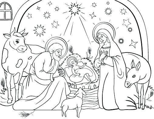 507x392 Jesus In A Manger Coloring Page