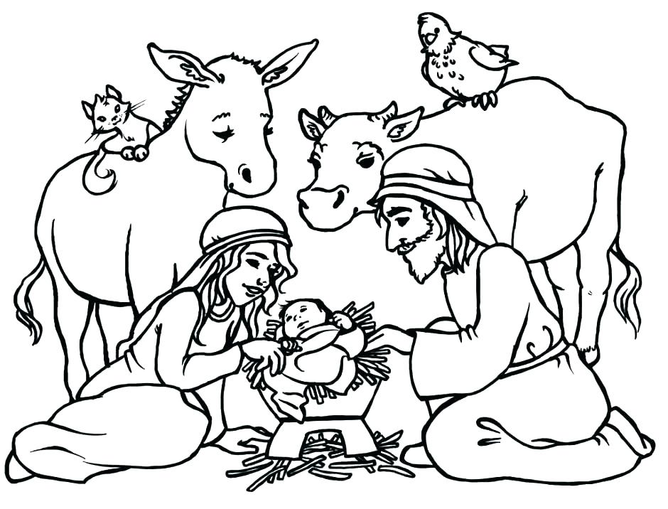 940x716 Nativity Scene Coloring Pages Icontent