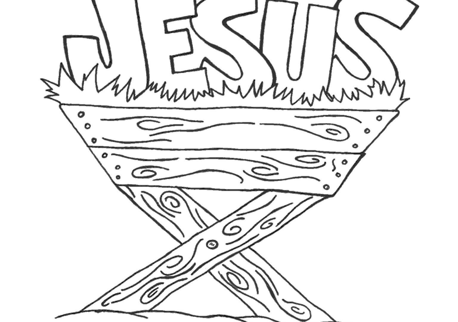 1536x1080 Baby Jesus Nativity Coloring Pages Manger Free Printable Adult