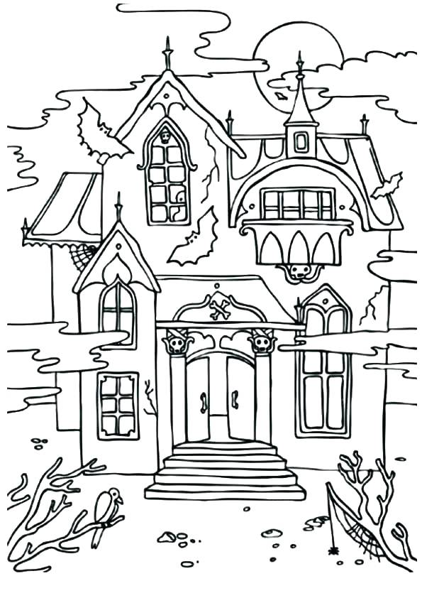 595x842 Haunted Mansion Coloring Pages Cheap Haunted House Ring Page
