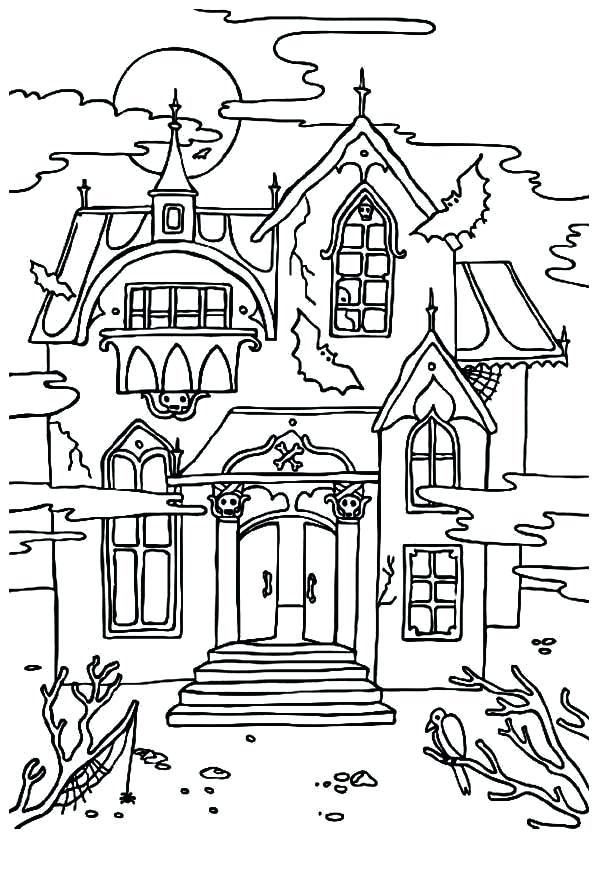 600x878 Haunted Mansion Coloring Pages Haunted House Coloring Pages