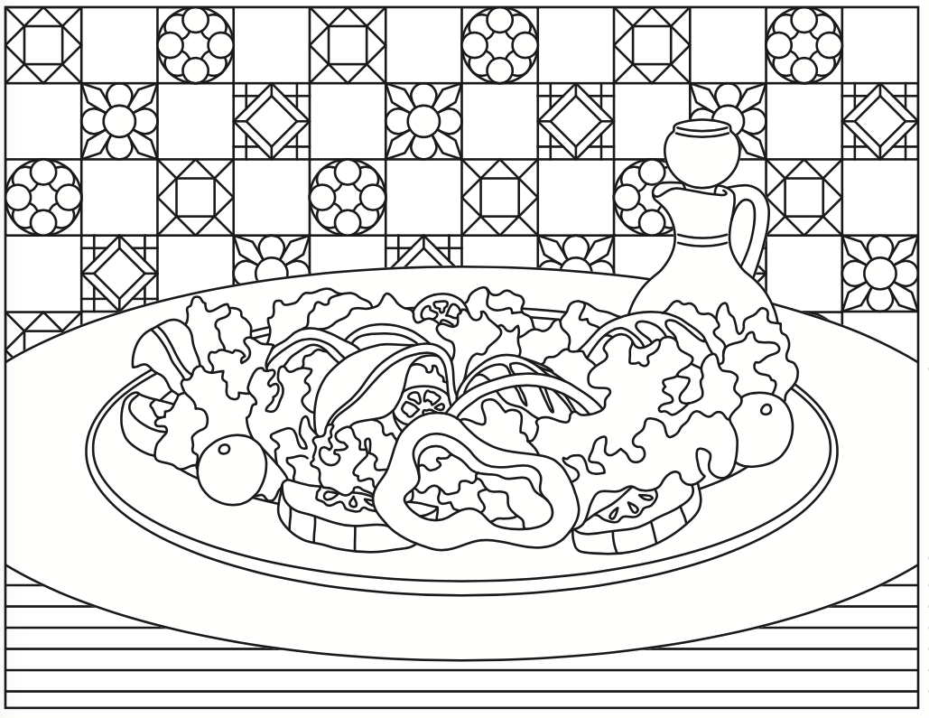 1029x795 Summer Salad Coloring Page