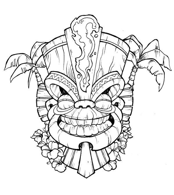 600x672 Tiki Mask Drawing