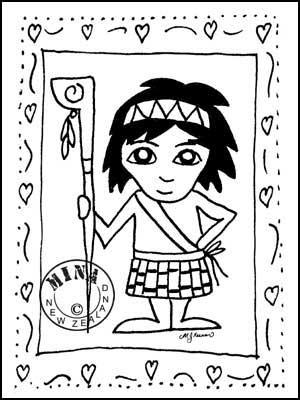 300x400 Boy Poster Colouring Page Maori Printables
