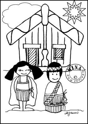 283x400 Kids And Marae Colouring Page Maori Printables