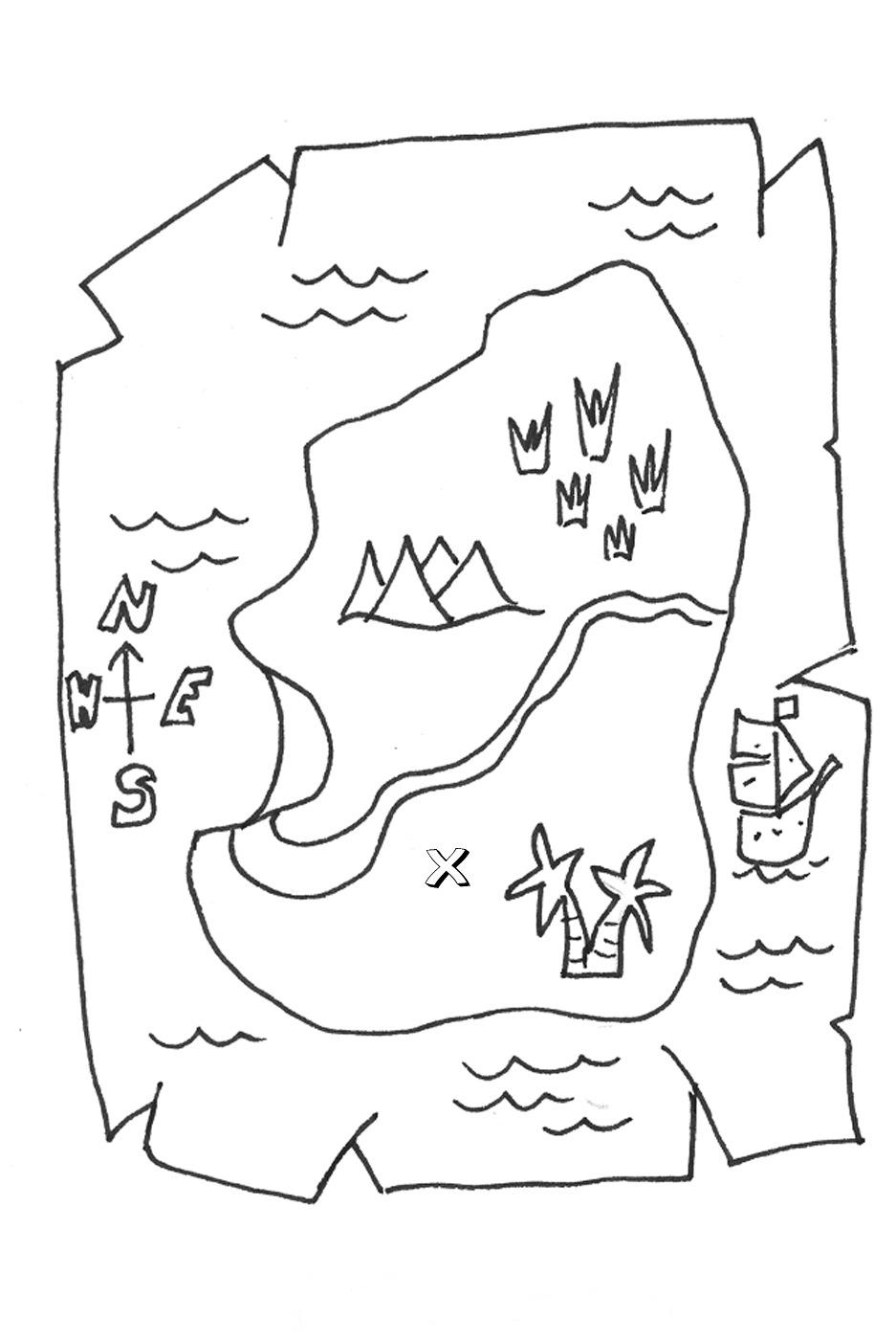 937x1400 Treasure Map Coloring Page
