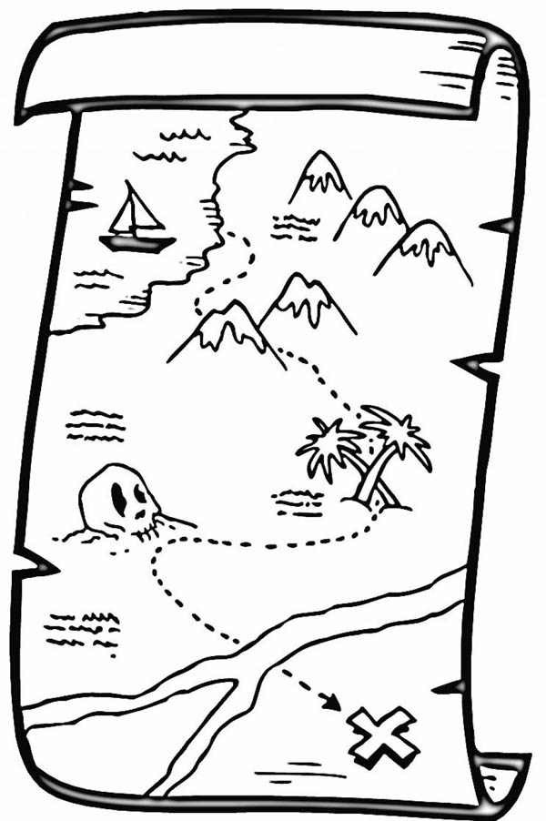 600x902 Treasure Map Coloring Page Map Coloring Pages Best Map Coloring