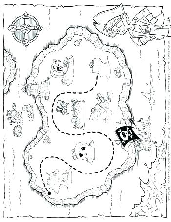 350x453 Treasure Map Coloring Page Treasure Map Coloring Pages Map
