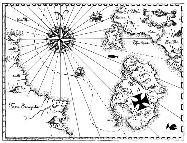 600x459 Treasure Map Coloring Pages
