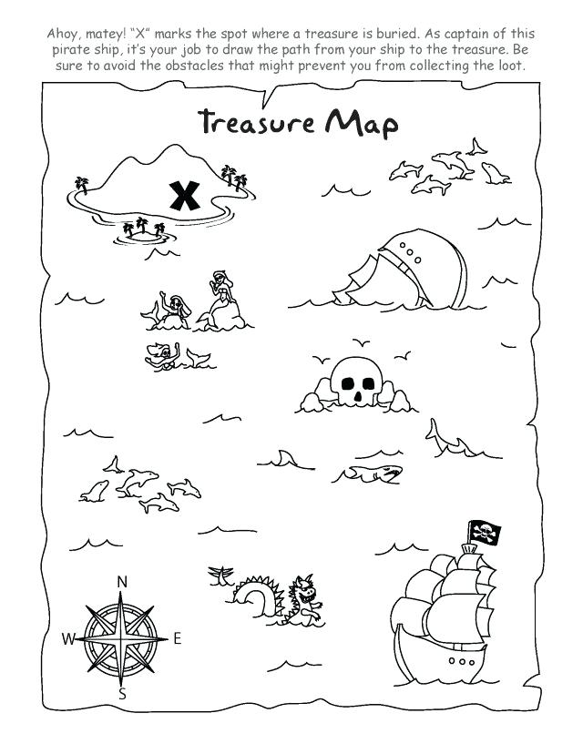 640x828 Treasure Map Coloring Pages Pirate Treasure Map Coloring Page