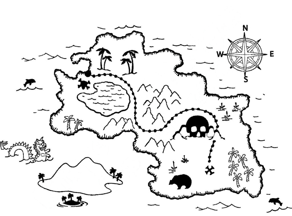 1024x760 Treasure Map Coloring Pages Treasure Map Coloring Pages Free