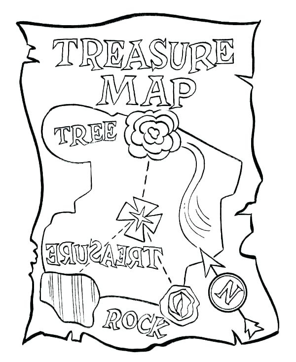 600x734 Kids Pirate Maps Treasure Map Coloring Pages Pirate Map Coloring