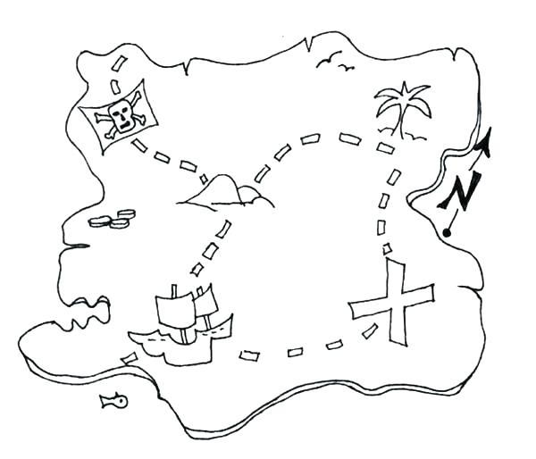600x514 Pirate Map Coloring Page Treasure Map Coloring Pages Great Pirate