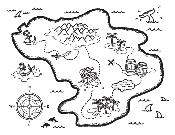 600x464 Treasure Map Coloring Pages