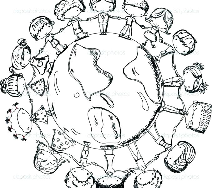 678x600 Children Around The World Coloring Pages World Coloring Page