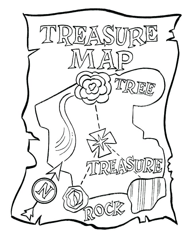 670x820 Treasure Map Coloring Pages Pirate Treasure Map Coloring Pages Top