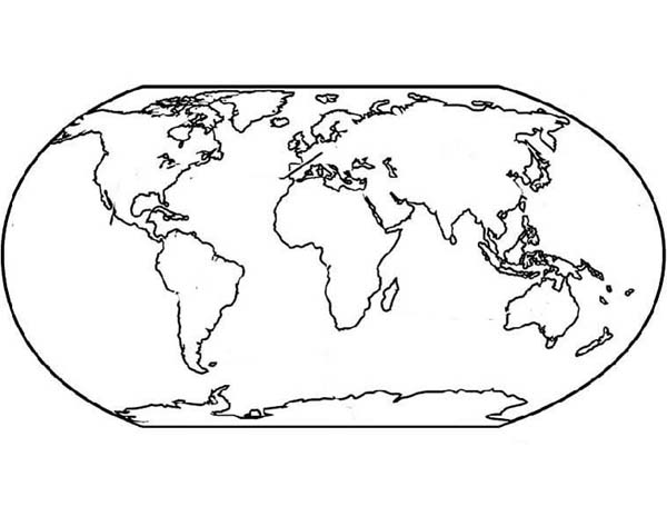 600x473 World Map For Education Coloring Page