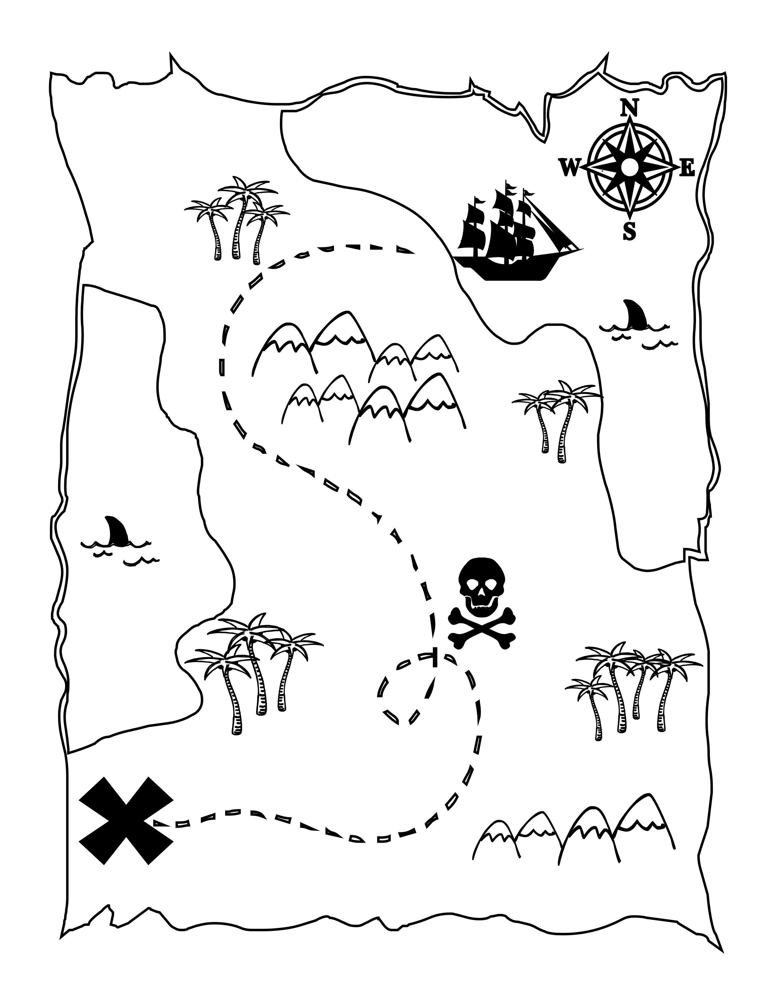 2550x3300 Free Printable Pirate Map