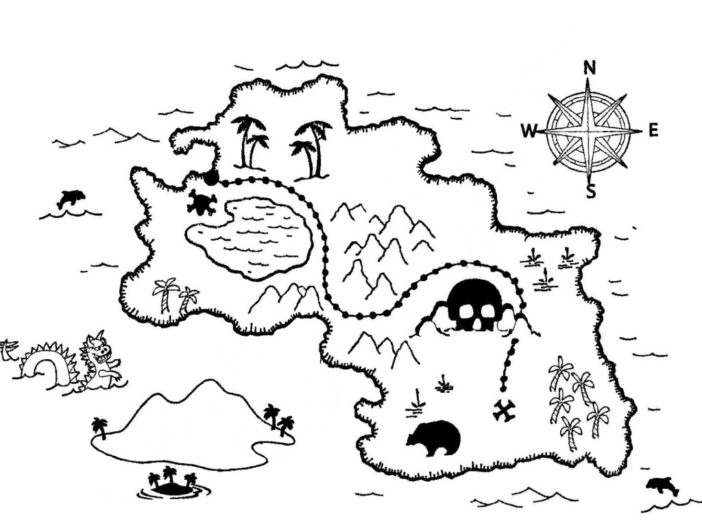 1024x760 Treasure Map Coloring Pages