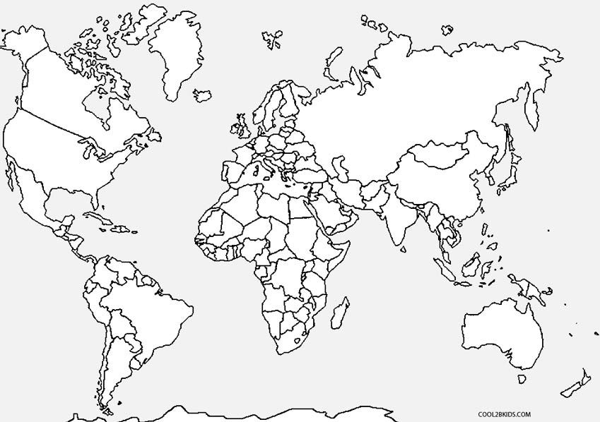 849x598 World Map Coloring Page For Kindergarten At Map Coloring Pages