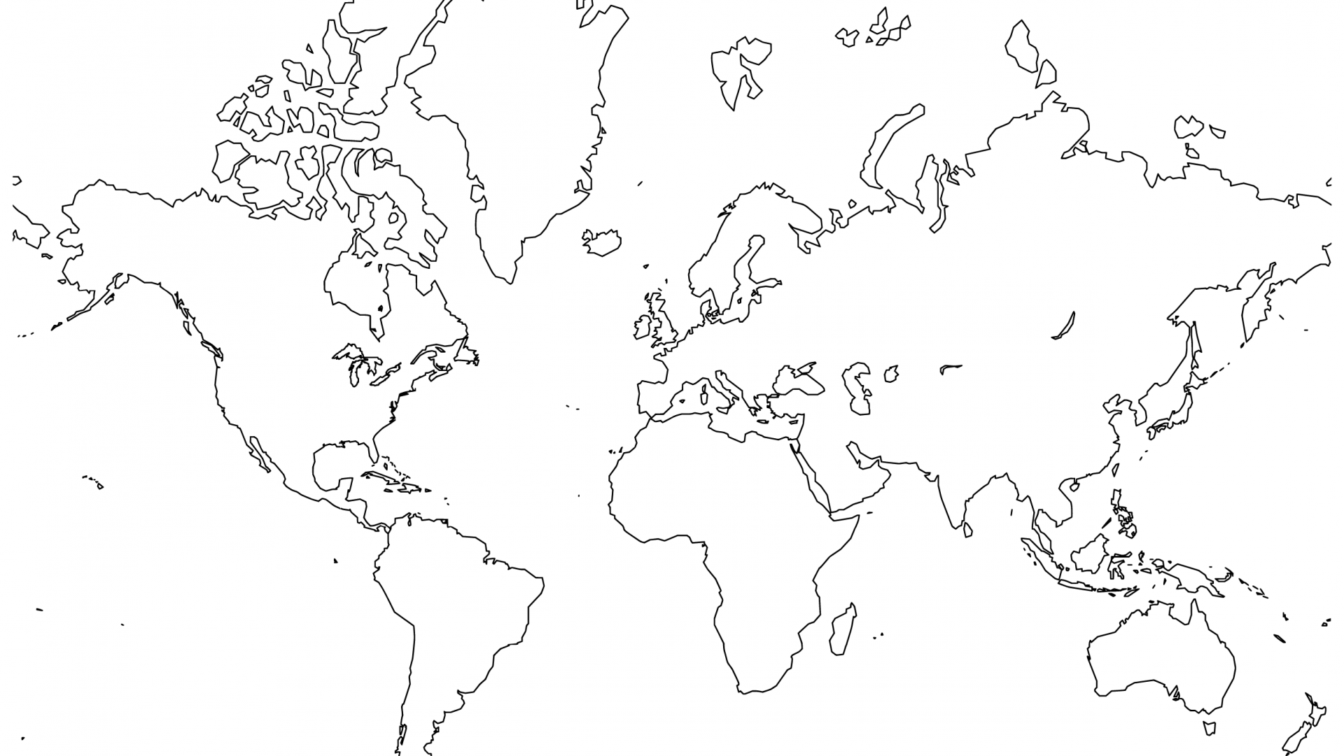 1920x1080 World Map Coloring Pages To Download And Print With Globe Free