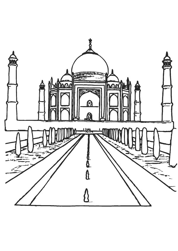 600x849 India Taj Mahal Countries Coloring Pages Free To Print For Adults